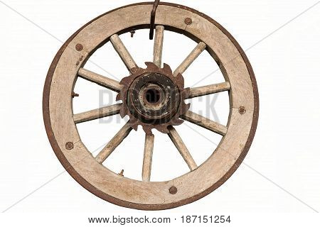 Old wooden wheel hanging on white background