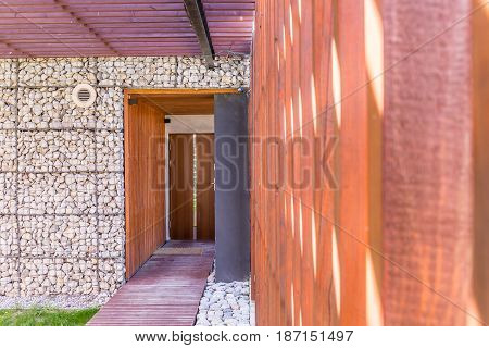 Entrance To A Modern Stone House