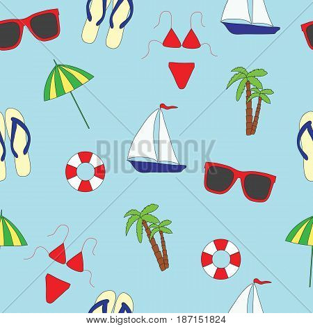 Seamless pattern. Summer and sea. A vector picture on a blue background