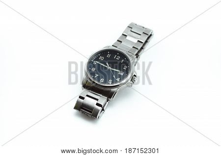 Modern steel watch with black dial isolated on white background.