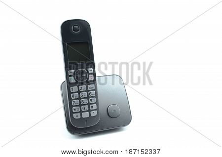 Wireless phone isolated on white background. Silver phone.