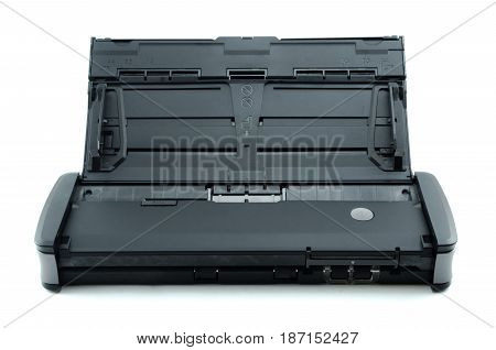 Compact document scanner isolated on white background.