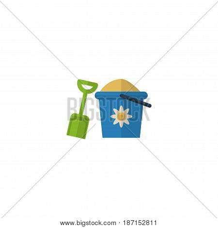 Flat Pail Element. Vector Illustration Of Flat Shovel Isolated On Clean Background. Can Be Used As Pain, Shovel And Sand Symbols.
