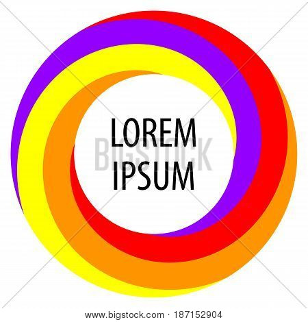 Round spiral shape background. Twisting color strips creating a circle in the center of which is space for text. Vector illustration.