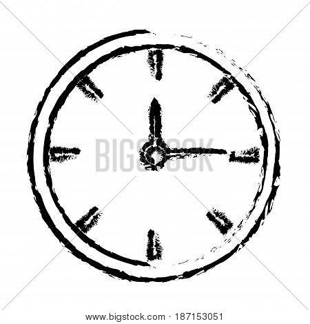 sketh clock time hour minute image vector illustration