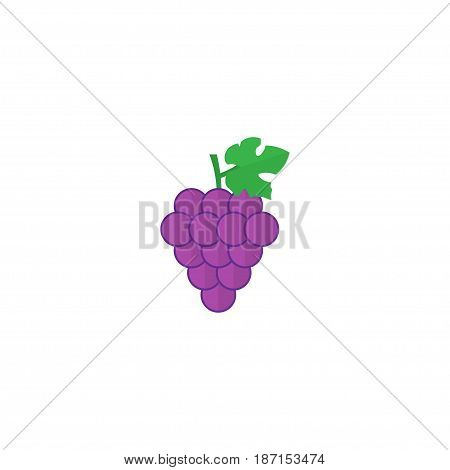 Flat Grapes Element. Vector Illustration Of Flat Cluster Isolated On Clean Background. Can Be Used As Grape, Cluster And Merlot Symbols.