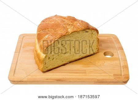 Bread on wooden board isolated on white background