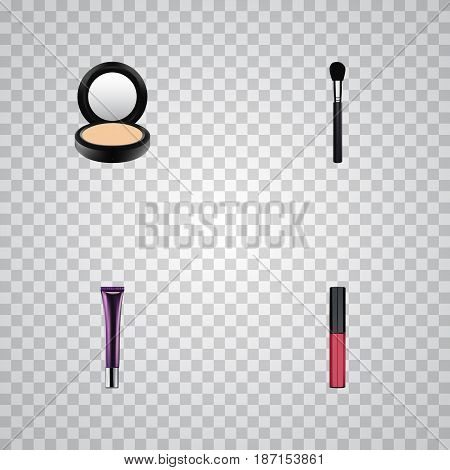 Realistic Liquid Lipstick, Blusher, Day Creme And Other Vector Elements. Set Of Greasepaint Realistic Symbols Also Includes Makeup, Brush, Brow Objects.