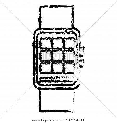 smart watch wearable technology digital display sketch vector illustration