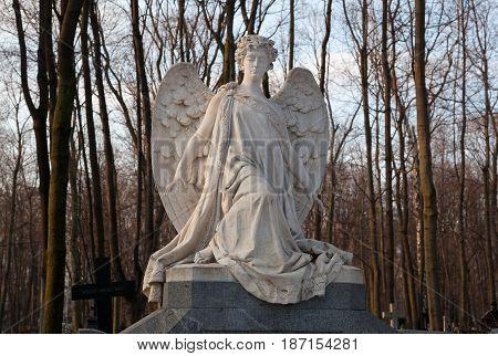 MOSCOW, RUSSIA - MAR 8, 2017: German cemetery(Vvedenskoye cemetery) is a historical cemetery in the Moscow district of Lefortovo. Sculpture of an angel