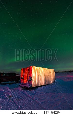 Colorful Northern Lights In The Dark Night