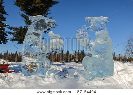 Beautiful Winter Ice Sculpture In Fairbank