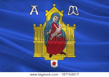 Flag of Montpellier is a city in southern France. It is the capital of the Herault department. 3d illustration