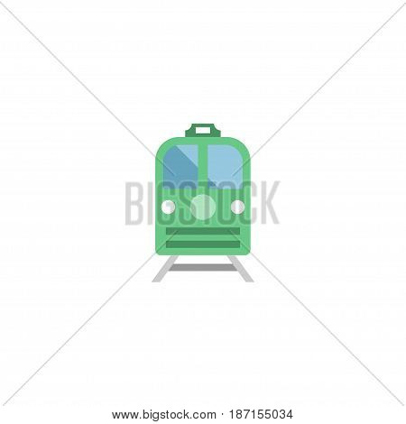 Flat Electric Train Element. Vector Illustration Of Flat Metro Isolated On Clean Background. Can Be Used As Train, Subway And Electric Symbols.