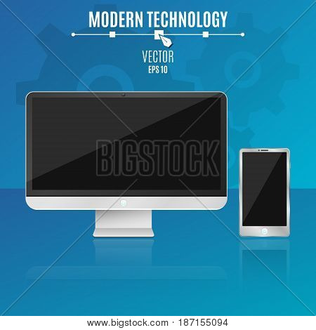 Modern computer and phone on a blue background. Empty black screen of the monitor. Hi-tech. Vector illustration. ESP 10