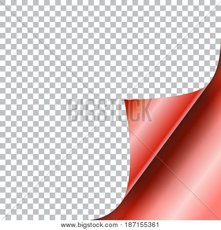 Curly Page Corner realistic illustration with transparent shadow. Ready to apply to your design. Graphic element for documents, templates, posters, flyers. Vector illustration.
