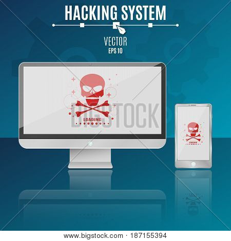 Modern computer and phone on a blue background. Hacking system. Red skull on a light screen. Hi-tech. Vector illustration. ESP 10