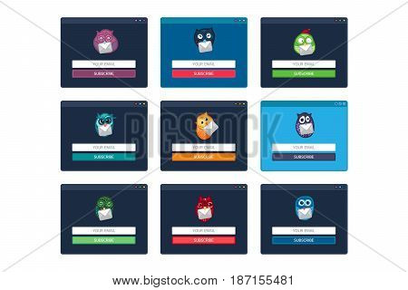 Web Template, Web Elements for site form of email subscribe, newsletter with Fun Owl. Vector