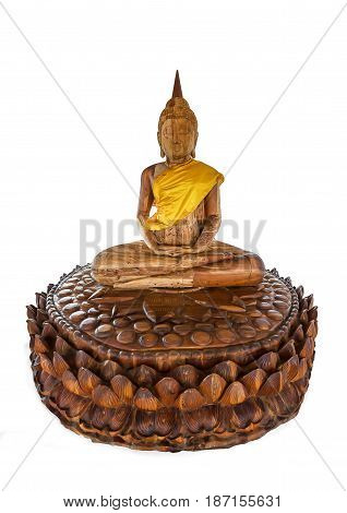Carved wood buddha statue with Isolated background