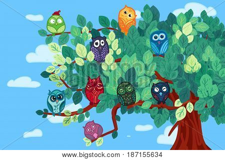 Hand Drawn Funny Owl on Branch. Owls Meeting for print, fabric, wrap and illustration, game, web and childrens items. Vector
