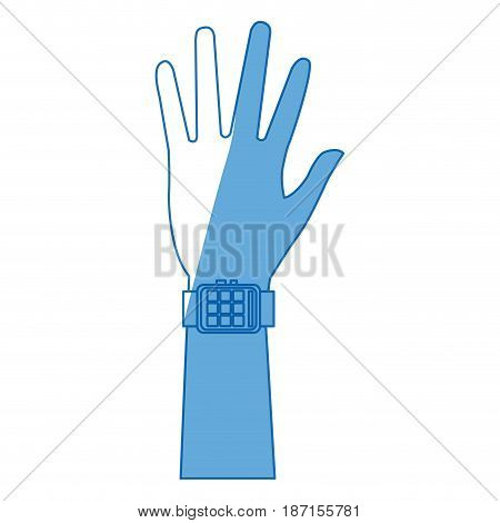 hand man smart watch wearable technology vector illustration