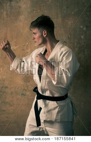 Coach Of Karate, Man Posing In Fighting Stance With Fists