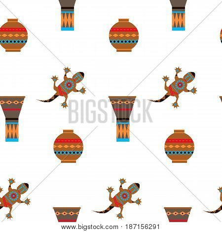 Huts in Africa. Vector flat illustration jug drum gecko. Idea for design.Print on fabric. Stylized image of African element. Abstract illustration of african motifs.Seamless flat background.