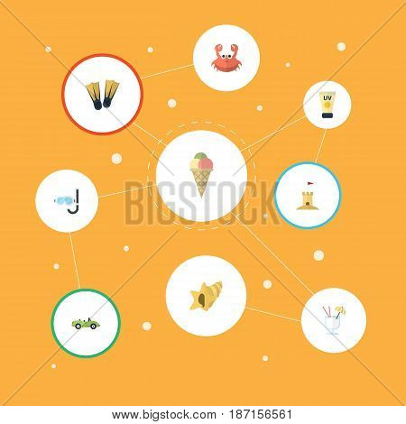 Flat Sorbet, Anti-Sun Cream, Castle And Other Vector Elements. Set Of Summer Flat Symbols Also Includes Sun, Swimming, Sand Objects.