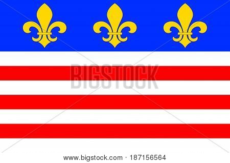 Flag of Beziers is a town in Languedoc in southern France. It is a sub-prefecture of the Herault department. Vector illustration