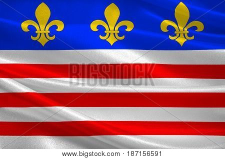 Flag of Beziers is a town in Languedoc in southern France. It is a sub-prefecture of the Herault department. 3d illustration