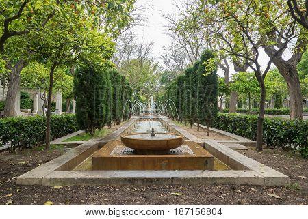 S'Hort del Rei gardens Water fountain, leisure area Park to walk Palma de Mallorca. Balearic islands of Spain