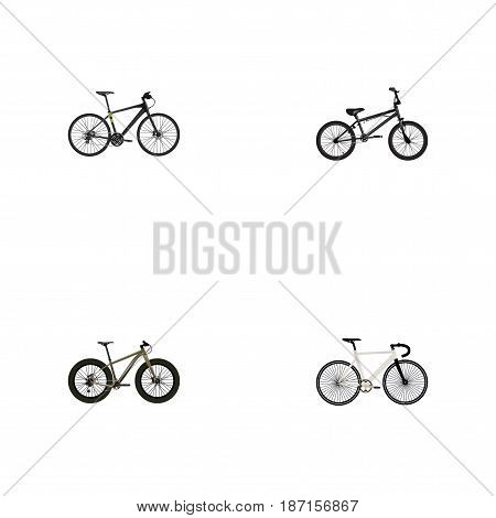 Realistic Hybrid Velocipede, Extreme Biking, Bmx And Other Vector Elements. Set Of Bike Realistic Symbols Also Includes Extreme, Track, Bike Objects.