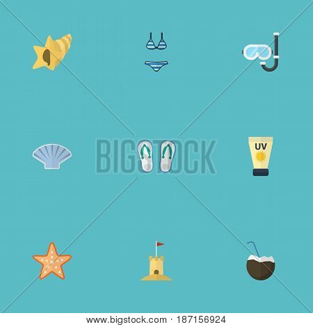 Flat Conch, Shell, Aqualung And Other Vector Elements. Set Of Summer Flat Symbols Also Includes Star, Sun, Mask Objects.