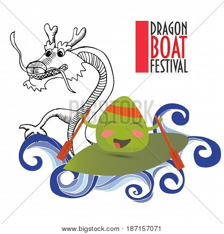 Dragon boat racing festival promotion illustration: happy zongzi dumpling and chinese dragon surfing on waves. Dragon drawn in a doodle style.
