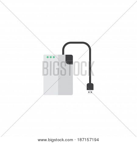 Flat Hard Drive Element. Vector Illustration Of Flat Storage Device Isolated On Clean Background. Can Be Used As Storage, Drive And Cable Symbols.