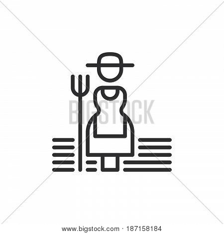 Farmer woman with hayfork line icon outline vector sign linear style pictogram isolated on white. Symbol logo illustration. Editable stroke. Pixel perfect