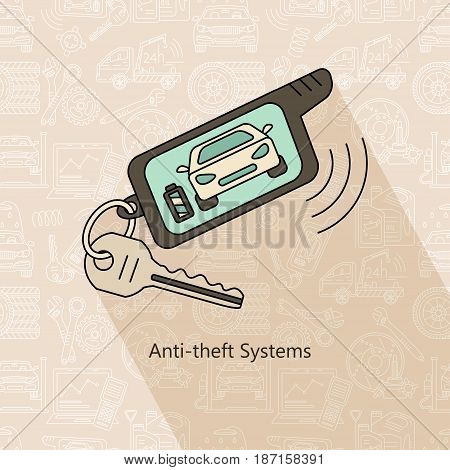 Anti-theft system. Vector modern car service logo.