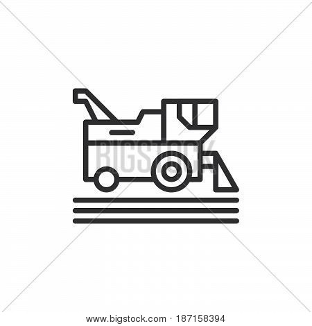 Combine harvester line icon outline vector sign linear style pictogram isolated on white. Symbol logo illustration. Editable stroke. Pixel perfect