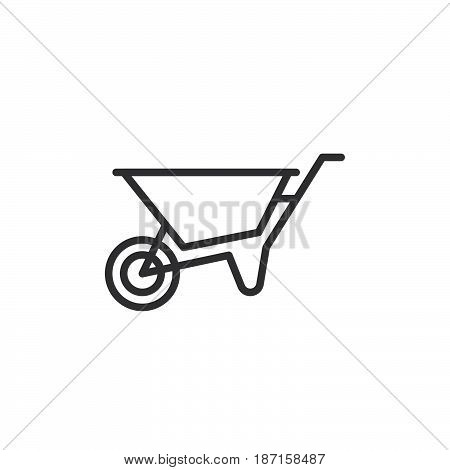 Wheelbarrow line icon outline vector sign linear style pictogram isolated on white. Symbol logo illustration. Editable stroke. Pixel perfect