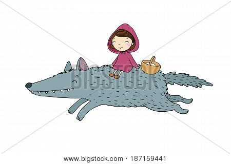 Little cute girl and a wolf. Red Riding Hood fairy tale.Hand drawing isolated objects on white background. Vector illustration.