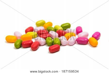 color jelly beans isolated on white background