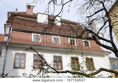 GRAZ, AUSTRIA - MARCH 20, 2017: Building at the back of a winter tree without leaves in Graz the capital of federal state of Styria Austria.