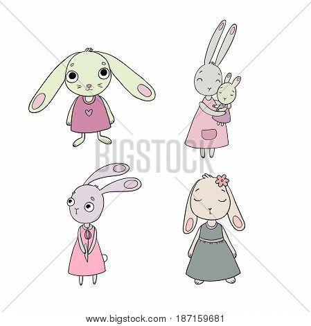 A set of cute cartoon bunny girls. Beautiful rabbits in dresses. Little hares. isolated objects on white background. Vector illustration.