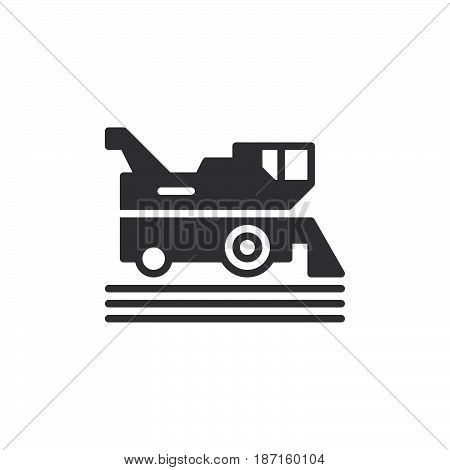Combine harvester icon vector filled flat sign solid pictogram isolated on white. Symbol logo illustration. Pixel perfect