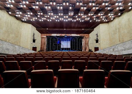 MOSCOW, RUSSIA - FEB 11, 2017: Interior of Korolevskiy concert hall before Pole Dance Show. Concert hall located at the foot of the Ostankino TV tower.