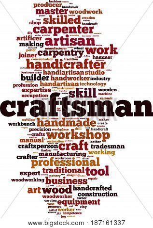Craftsman word cloud concept. Vector illustration on white