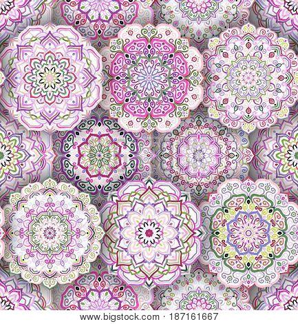 Intricate floral pattern. Seamless flower background. Complex vintage design. Mandala elements. Realistic shadow. Curvy boho round ornament. Decorative weave oriental interior, fabric, wallpaper, tile