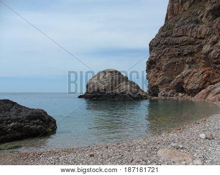 Southern coast of Crimea Stones in the sea. Balaclava. Russia.