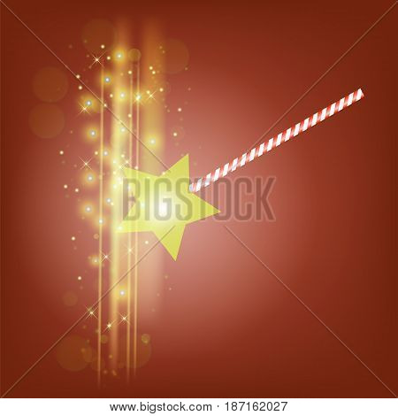 Realistic Magic Wand with Starry Lights on Red Background