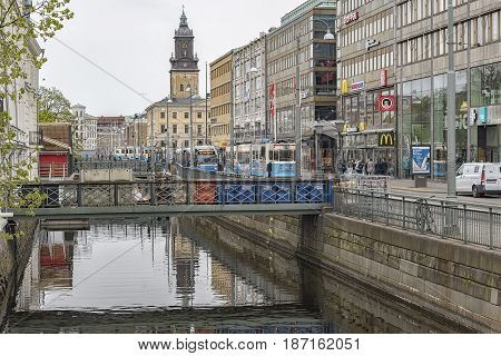 GOTHENBURG SWEDEN - MAY 13 2017: A typical city scene from the main canal that runs through Gothenburg in Sweden.